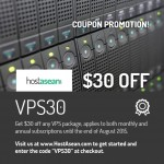 "Promotional Coupon Code ""VPS30"""