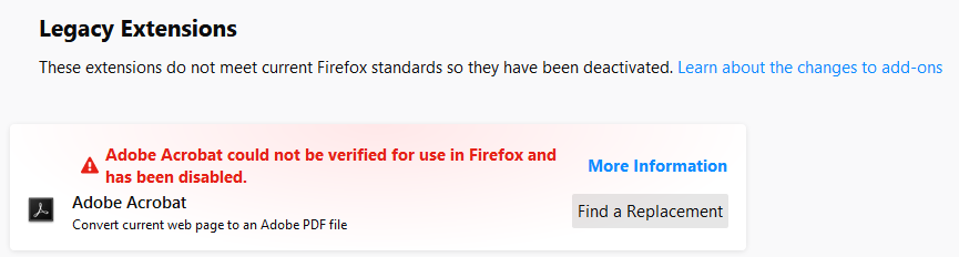 Firefox Legacy Extensions - Add-ons disabled