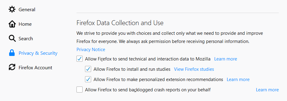 Firefox Options - Allow Firefox to install and run studies